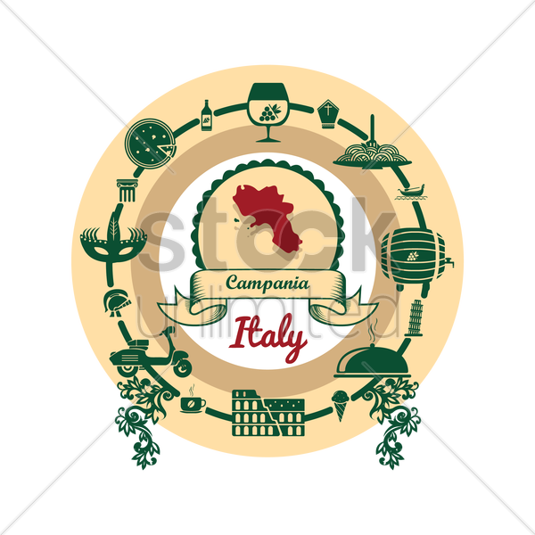 campania map label vector graphic