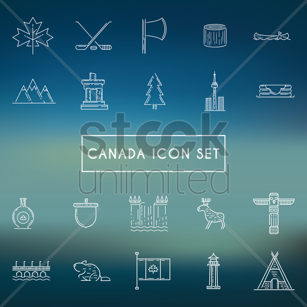 canada icon set vector graphic