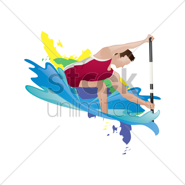 canoe sprint participant in action vector graphic