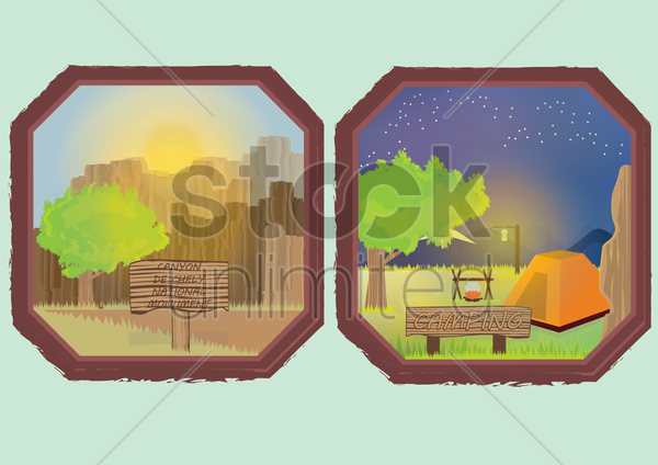 canyon de chelly national monument and camping vector graphic