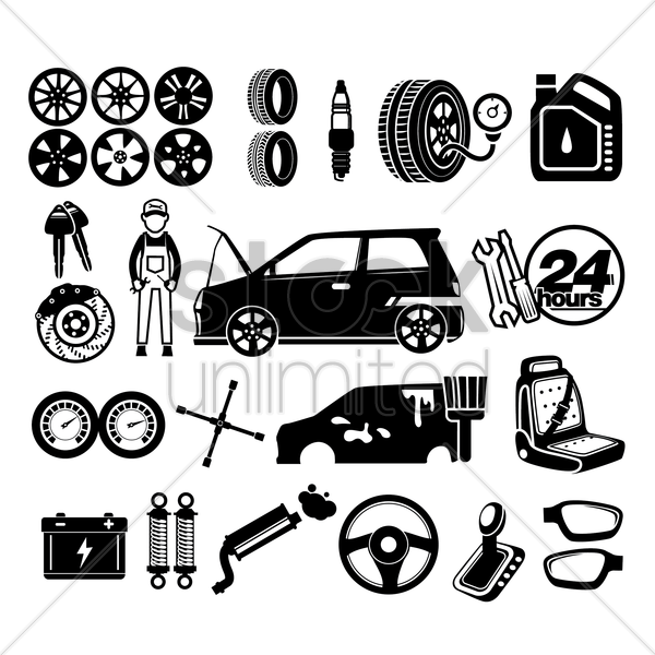 car service icons vector graphic