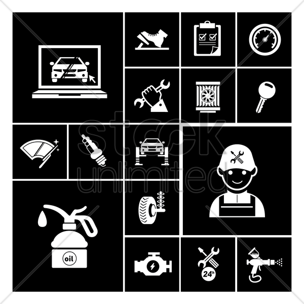 car service maintenance icons vector graphic