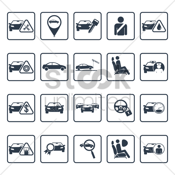 car servicing icons vector graphic