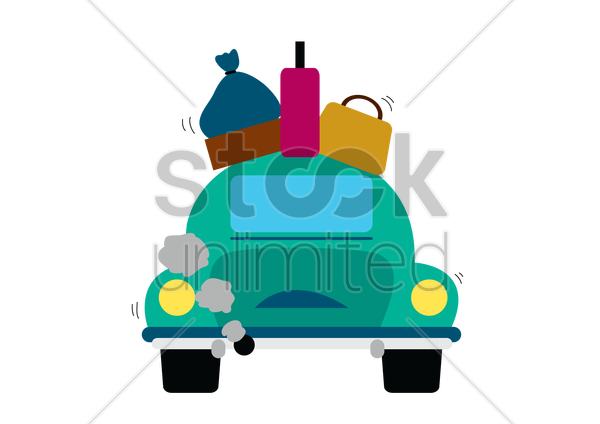 car with luggage on top vector graphic