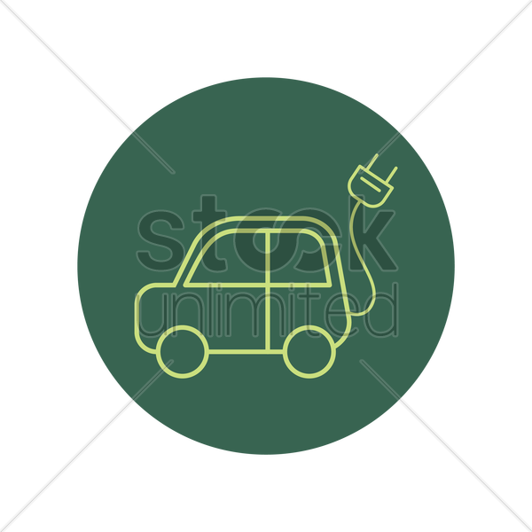 car with power plug vector graphic