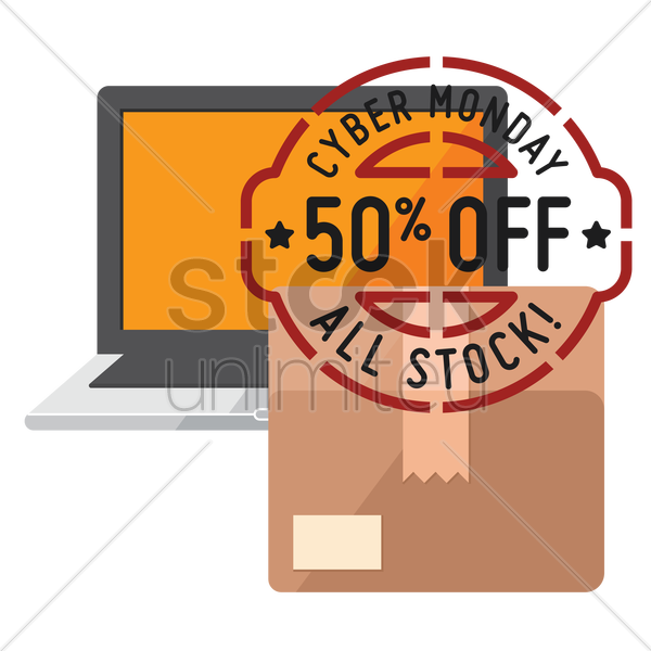 cardboard box and laptop with cyber monday sale stamp vector graphic