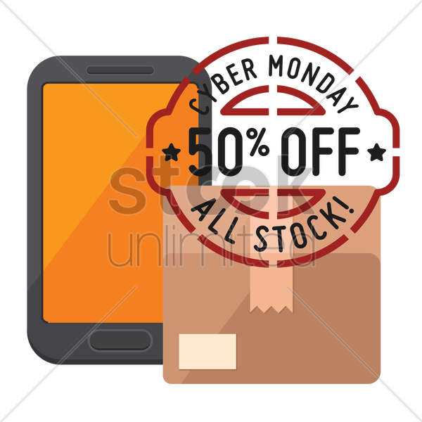 cardboard box and smartphone with cyber monday sale stamp vector graphic