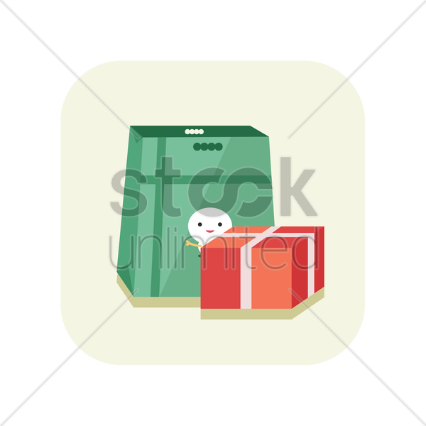 carry bag with gift box vector graphic