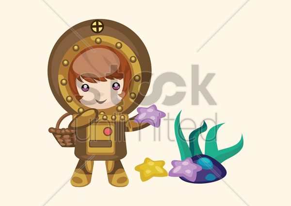 Cartoon Diver Holding Starfish 1307263