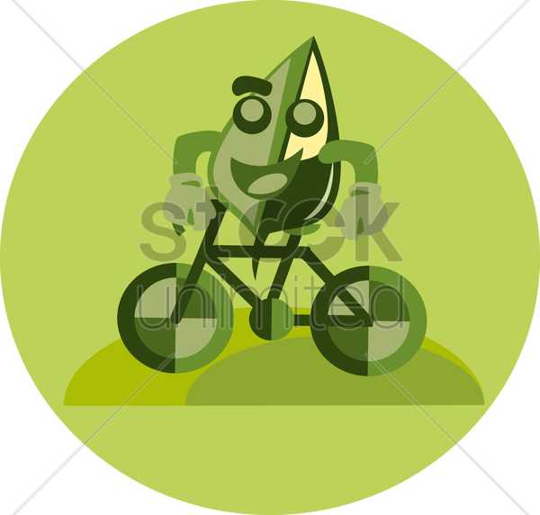 Free cartoon leaf character riding a bicycle vector graphic