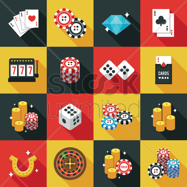 casino icons set vector graphic