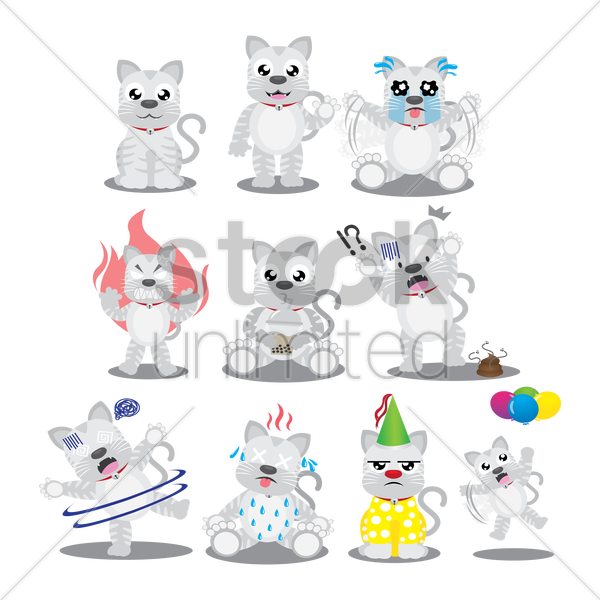cat character with different actions vector graphic