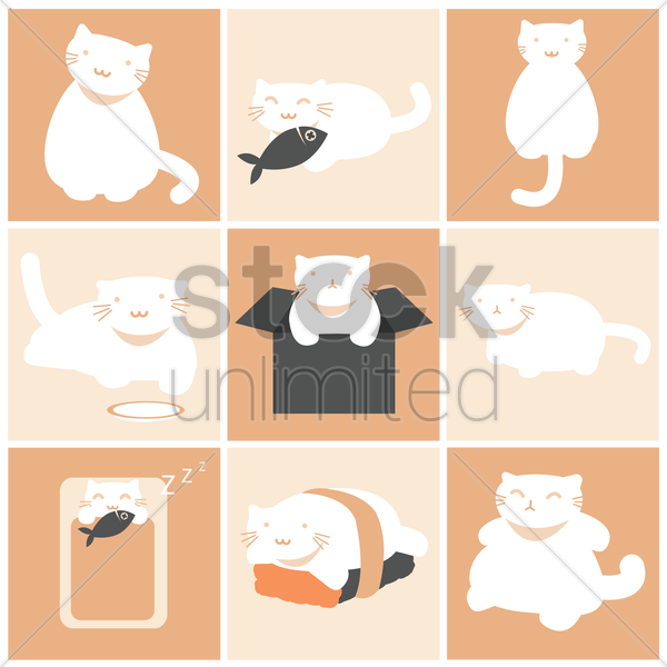 cat icon set vector graphic