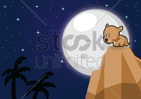 cat on a mountain over a moonlit background vector graphic