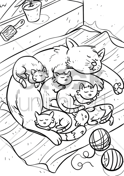 cat with kittens vector graphic