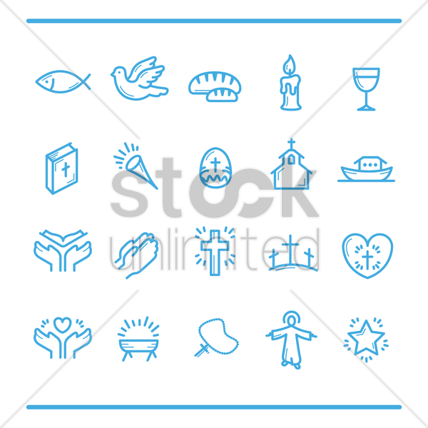catholic religion icons vector graphic