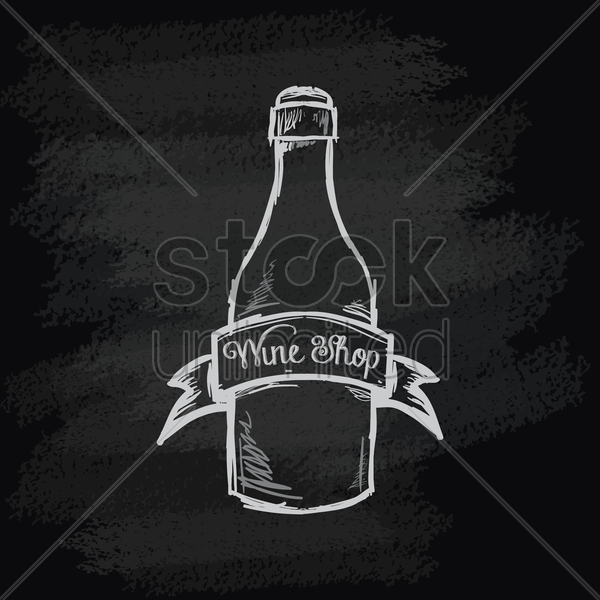 chalk bottle icon vector graphic