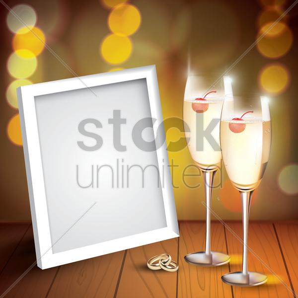champagne glasses with photo frame vector graphic
