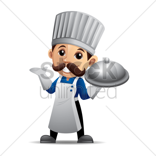 chef holding a cloche vector graphic