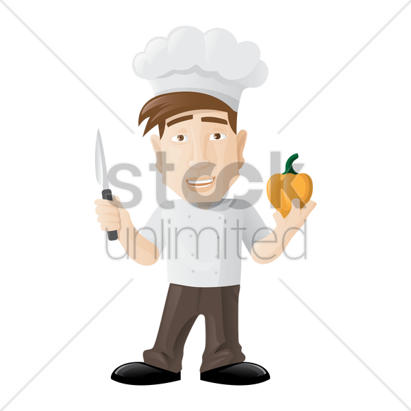 chef holding a knife and capsicum vector graphic