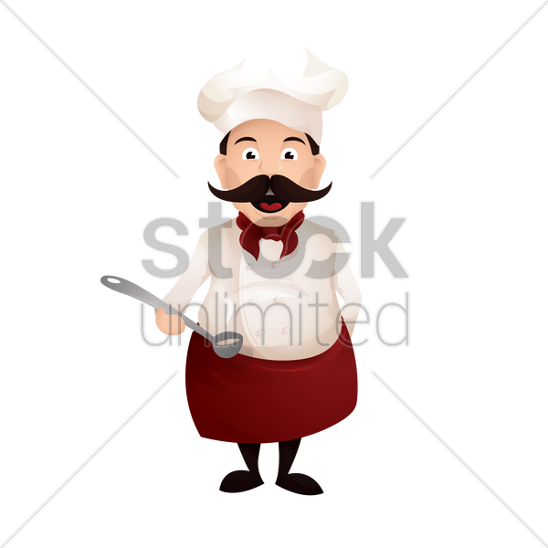 chef holding a ladle vector graphic