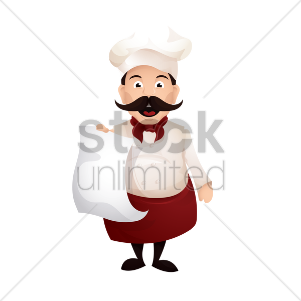 chef holding a piece of paper vector graphic