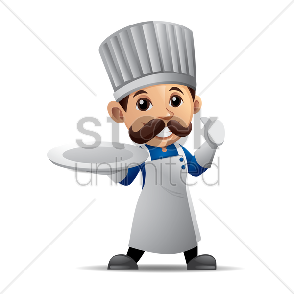 chef holding a plate vector graphic