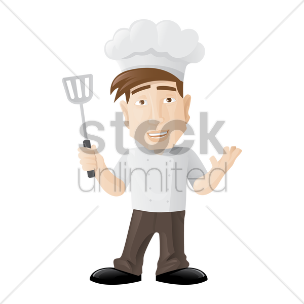 chef holding a spatula vector graphic