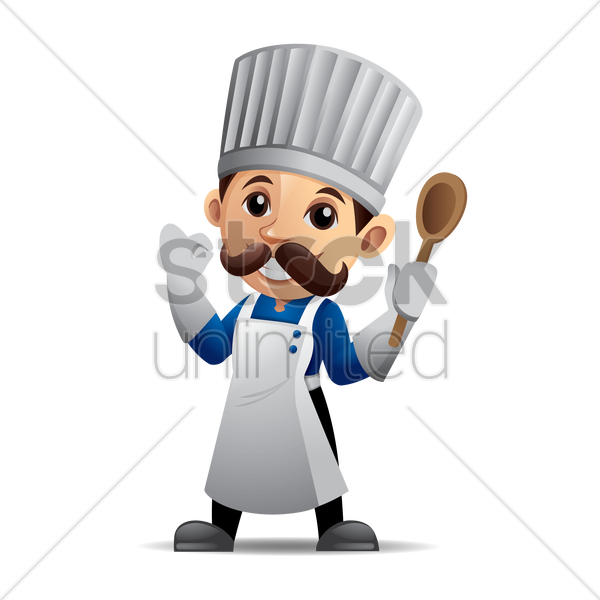 chef holding a wooden spoon with okay hand sign vector graphic