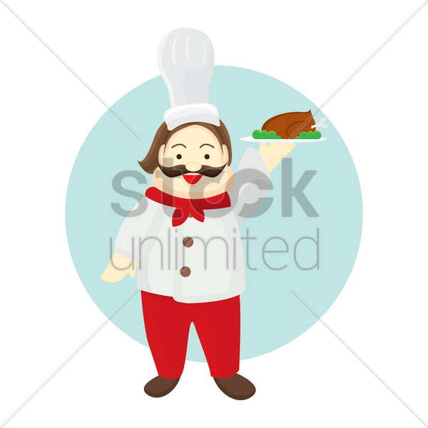 chef holding chicken tray vector graphic