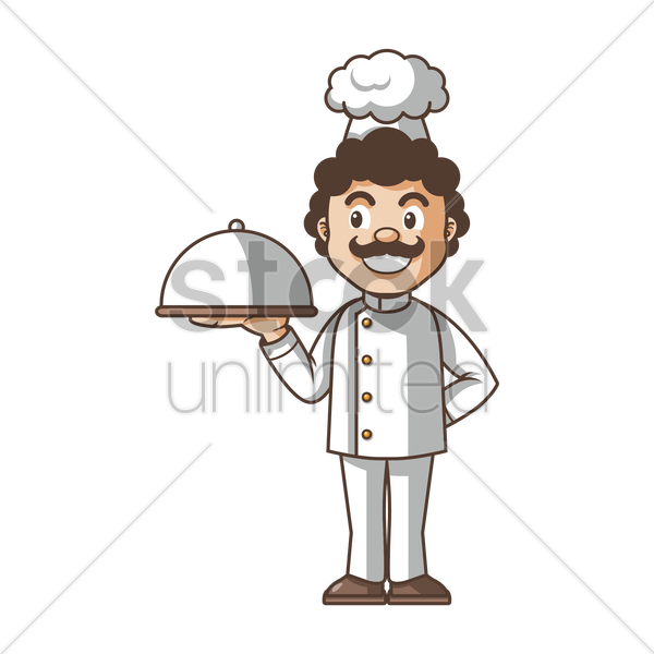 chef holding cloche vector graphic