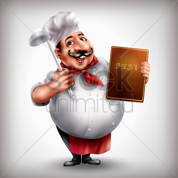 chef holding menu and spoon vector graphic