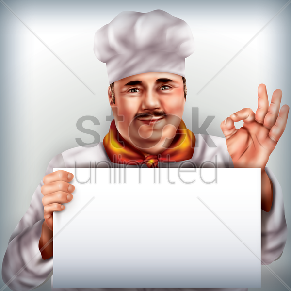 chef holding placard vector graphic