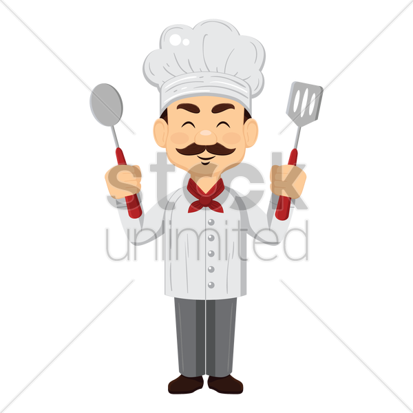 chef holding spoons and spatula vector graphic