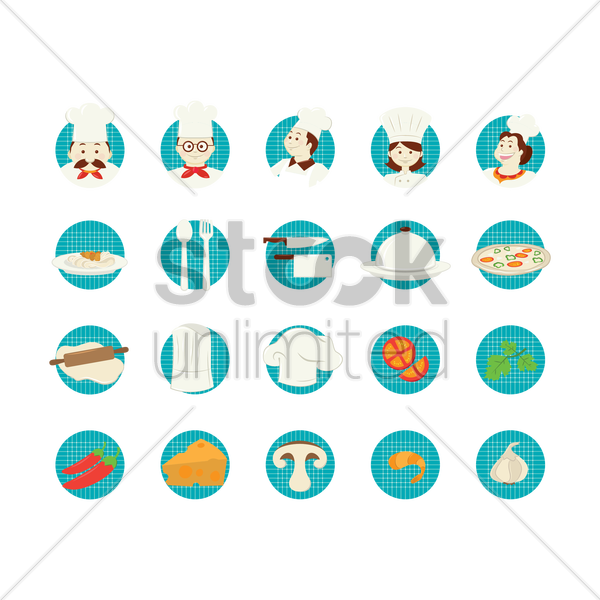 chef icon set vector graphic