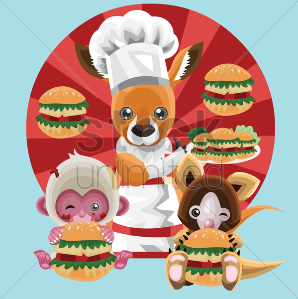 Free chef kangaroo vector graphic