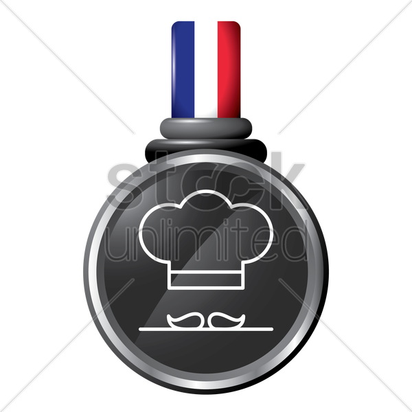chef mustache and hat in a medal vector graphic