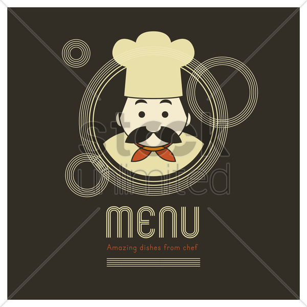 chef on the food menu cover vector graphic