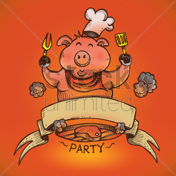 chef pig cooking steak on barbecue grill vector graphic