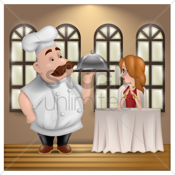 chef serving a dish vector graphic