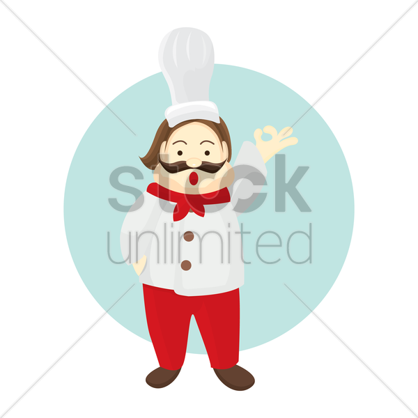 chef showing ok sign vector graphic