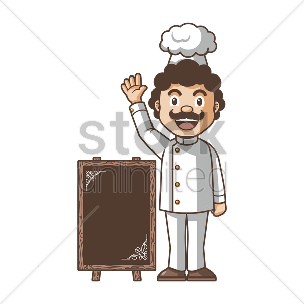 chef standing beside menu board vector graphic
