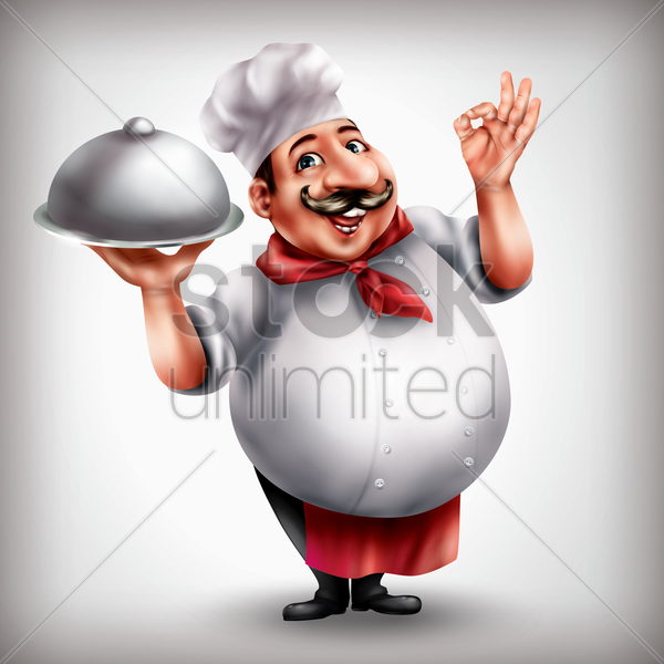 chef with cloche vector graphic
