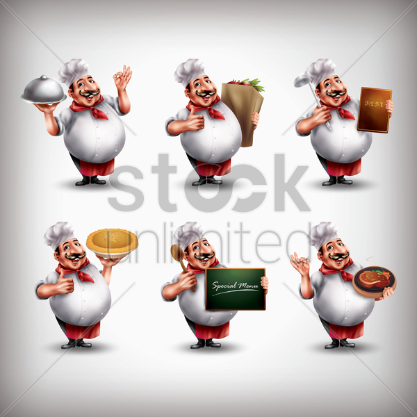 chef with different activities set vector graphic