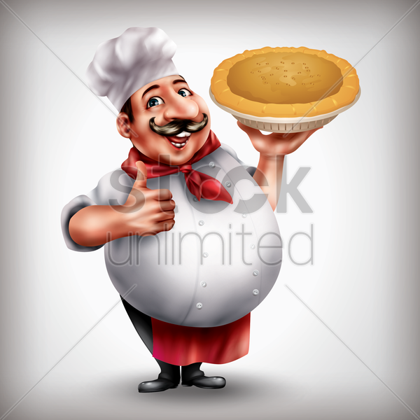 chef with dish vector graphic