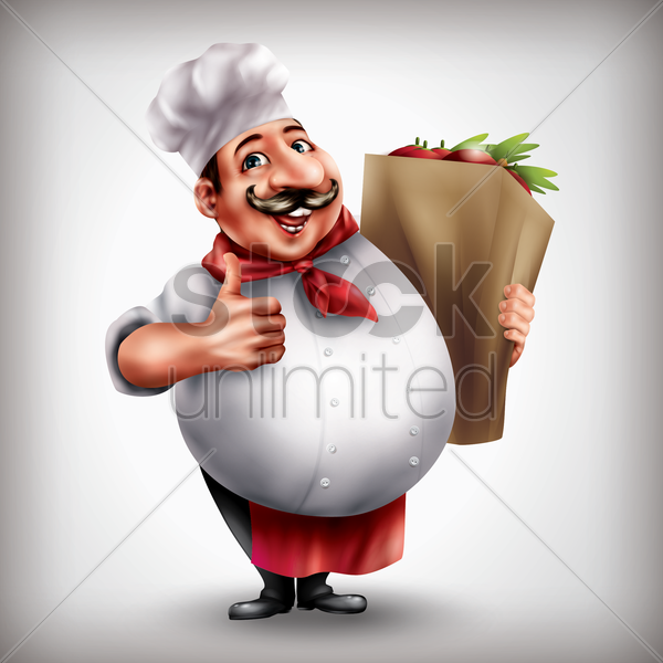 chef with grocery bag vector graphic
