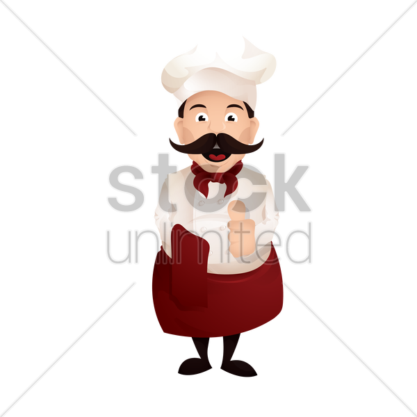 chef with his thumb up vector graphic
