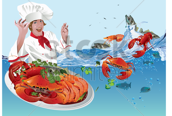 chef with seafood vector graphic