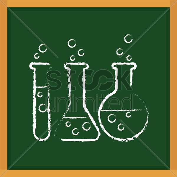 chemical equipment drawn on chalkboard vector graphic