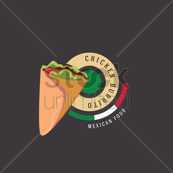 chicken burrito vector graphic